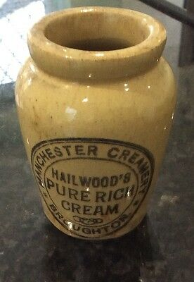 Pottery Jar Hailwood's Pure Rich Cream Manchester Creamery Broughton
