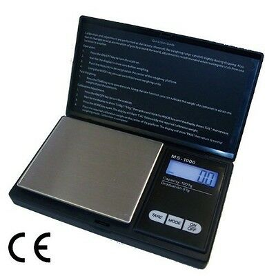 1000 G / 0.1 G Pocket Digital Scales For Gold Or Coins - Black