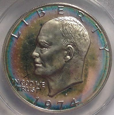 1974-S $1 PR 65 Silver (Proof) Ike Dollar Great original tone Proof Eisenhower