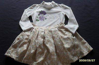 Couche Tot,outfit,gold Lace Print Full Skirt,purple Flower Print Top Age 5-6