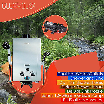 LPG Instant Dual Outlet Gas Hot Water Camp Shower Heater 4WD Caravan Horse Wash