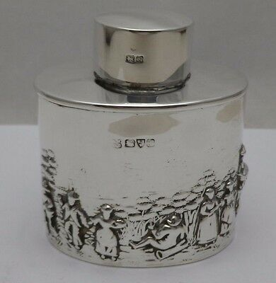 Oval Solid Silver Antique Embossed Tea Caddy Canister Chester 1907 (623-6-VVN)