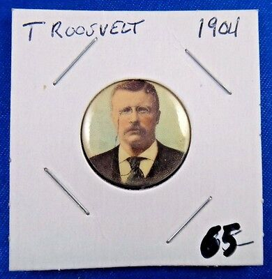 Original 1904 President Theodore Roosevelt Whitehead & Hoag Newark NJ Pin Button