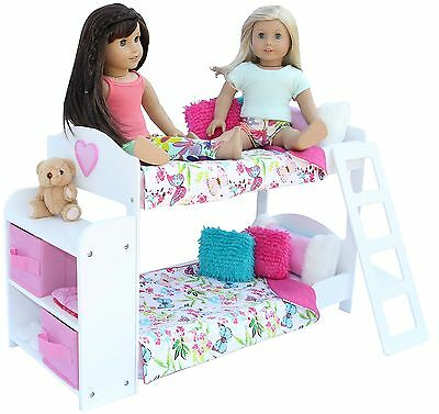 20 Pc. Bedroom Set for 18 Inch American Girl Doll. Includes: Bunk Bed Bookshe...