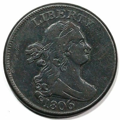 1806 C-4 Large 6 Draped Bust Half Cent Coin 1/2c