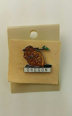 Brand New NOS Oregon Beaver Hat Tie Collar Lapel Pin Back Button Fast Shipping