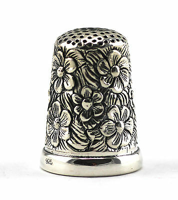 Beautiful Victorian Style Flower Embossed Thimble 925 Sterling Silver