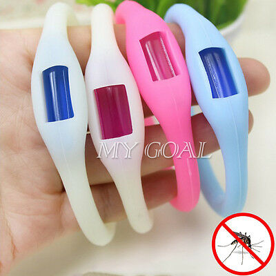 Blue Kids Baby Anti Mosquito Insect Repellent Wristband Natual Protected Oil UK