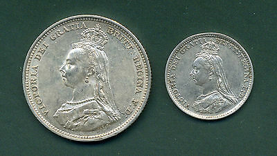 1887 Victoria Jubilee Head Shilling And Threepence.