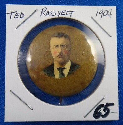 Original 1904 President Theodore Roosevelt F.F. Pulver Co. Rochester NY Pin
