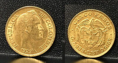 COLOMBIA 1923-B FIVE gold Pesos Simon Bolivar & Coat of Arms--UNC. COIN bullion