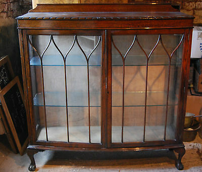 1940's Oak Astral Glazed Bow Fronted Large Display Cabinet
