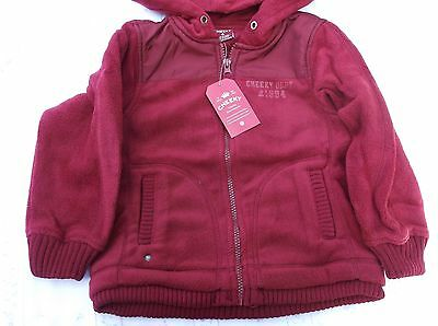 BRAND NEW BRANDED CHEEKY GIRLS BURGUNDY FLEECE ZIP JACKET 3-4year