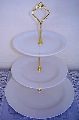 Six 6 brand new white three tier ceramic cake stands for afternoon tea/wedding