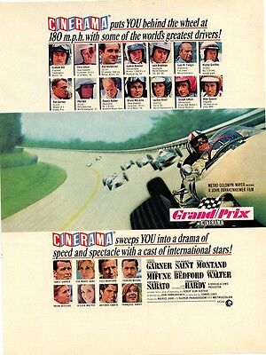 "vintage 1967 ""Grand Prix"" movie ad, Motor Trend October 1967 Cinerama Jim Garner"