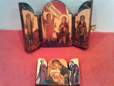 Two small Russian  Triptych Icons