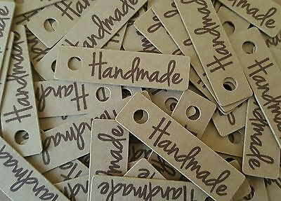 50x KRAFT 'Handmade' Tags Labels -   Gifts Christmas Vintage Style Price Tags