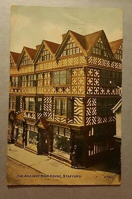 The ancient high house stafford vintage postcard used