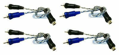 """4 Pack 6"""" 100% Copper RCA Audio Cable """"Y"""" Adapter Splitter 1 Female 2 Male"""