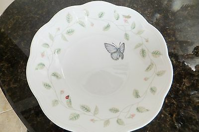"""LENOX BUTTERFLY MEADOW 9"""" Round Soup Pasta Bowl Scolloped Edge EXCELLENT"""