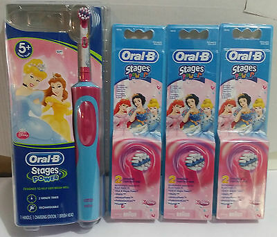 Braun Oral-B Kids Power Electric Rechargable Toothbrush Disney Princess +7 Heads