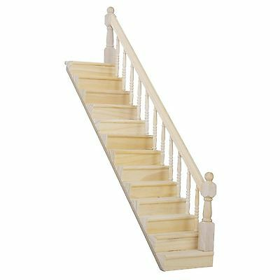 1:12 Scale Doll House Stairs Ready Assembled Staircase With Banister Right Side