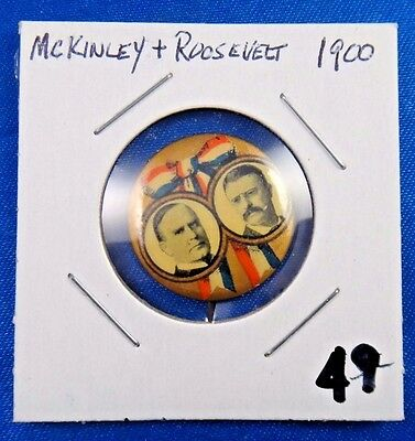 1900 William McKinley Theodore Roosevelt Campaign Political Pin Pinback Button
