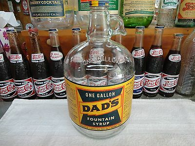 Dad's Soda Fountain Syrup 1 Gallon Jug Paper Label W Dads Cap Chicago, Ill. Root