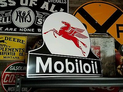Antique Vintage Old Style Mobiloil Sign Porcelain look 27inches