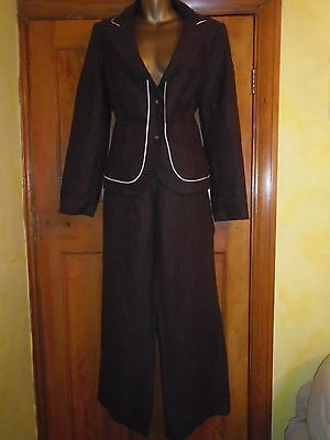 Smart Brown Linen Trouser Suit from Next Size 14R