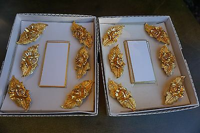 MIRELLA England Ware 12 Place Card Holders Gold Color Rose Floral Metal bronze