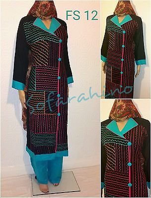 Indian pakistani Fashion shalwar kameez Asian clothes Embroidered 3piece suit UK