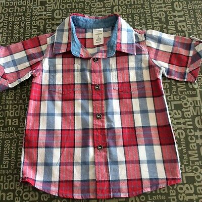Baby boys size 1 cotton red/white/blue check shirt in Euc.