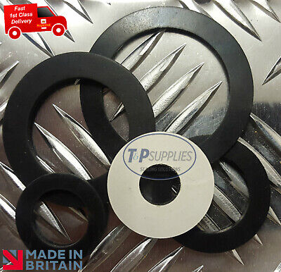 5 x Bespoke Solid Neoprene Adhesive backed Rubber Washer 1mm thk  upto 30mm dia
