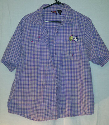Mickey Unlimited Embroidered Pocket Plaid Button Down  Ladybugs & Mickey 18w/20w
