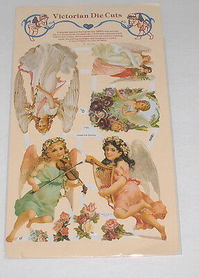 Victorian Die Cuts Angels Harp Violin Tree Reproduction W Germany New Pkg