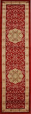 New Hall Runner Floor Rug Red Ivory Mat 3 Meters Long Persian Traditional Design