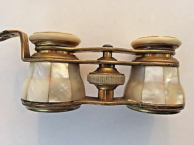 Antique French Mother Of Pearl Brass Opera Glasses  La Reine Paris