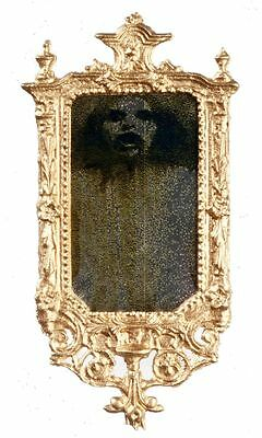 "Dollhouse Miniature Gold Ornate ""Ghost"" Mirror"