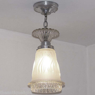 650  Vintage 40's Ceiling Light Lamp Fixture Glass Fixture  Hall Kitchen Bath