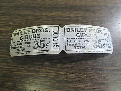 Vintage - Bailey Bros. Circus Tickets (35 Cents) Lot Of 2