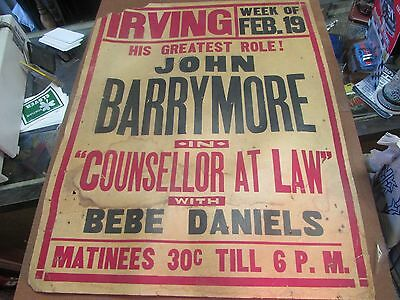 Counsellor At Law - John Barrymore - Irving Theatre - Wilkes-Barre Pa - Poster