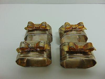 Vintage silver plated bow napkin rings set of 4 classic dining metal