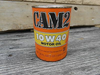 Vintage Cam 2 Motor Oil Can Tin Empty 10W 40