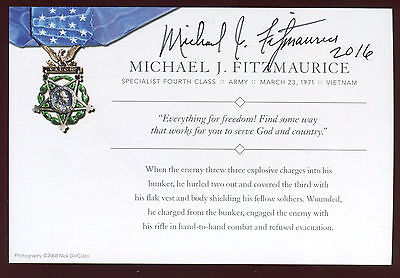 Michael Fitzmaurice signed autograph card Medal of Honor