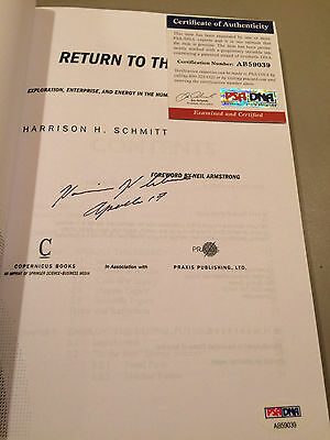 Harrison Schmitt Return to the Moon signed autograph softcover book PSA DNA
