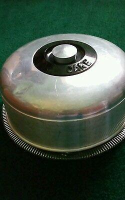 Vintage Kromex Round Glass Cake Plate With Aluminum Cover