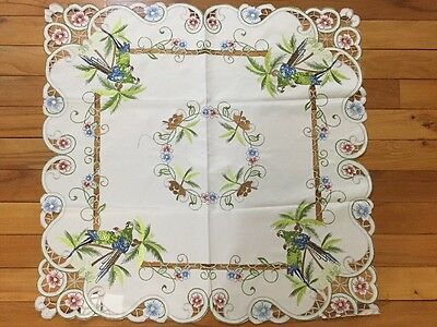 Tropical Paradise Parrot Table Topper Scalloped Embroidered Palm Trees Linen