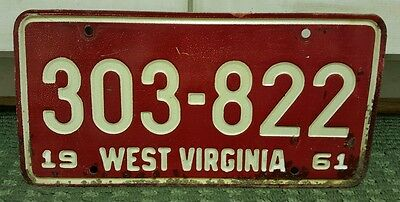 1961 West Virginia License Plate Car Tag WV