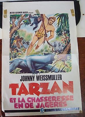 "Vintage Johnny Wiesmuller ""TARZAN"" Movie Poster From Europe!"